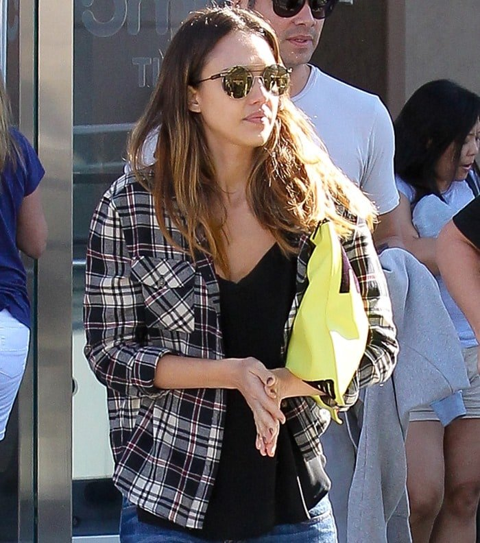 Jessica Alba Plaid Shirt
