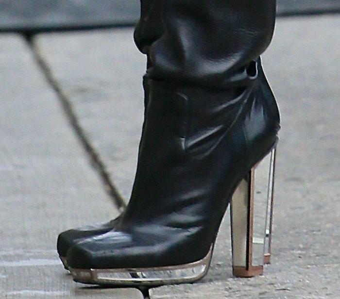 Jessie J wearing Yves Saint Laurent boots