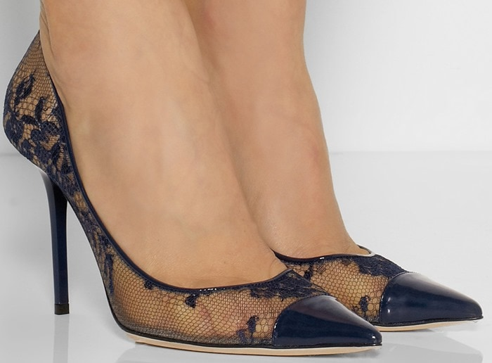 Jimmy Choo Blue Amika Leather-trimmed Lace Pumps