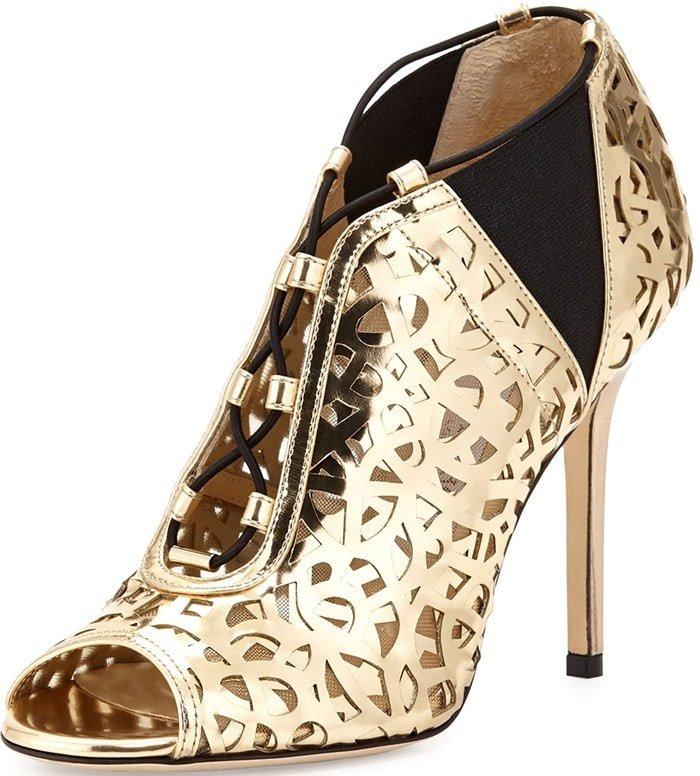 Jimmy Choo Gold Tactic Lace-up Cutout Bootie