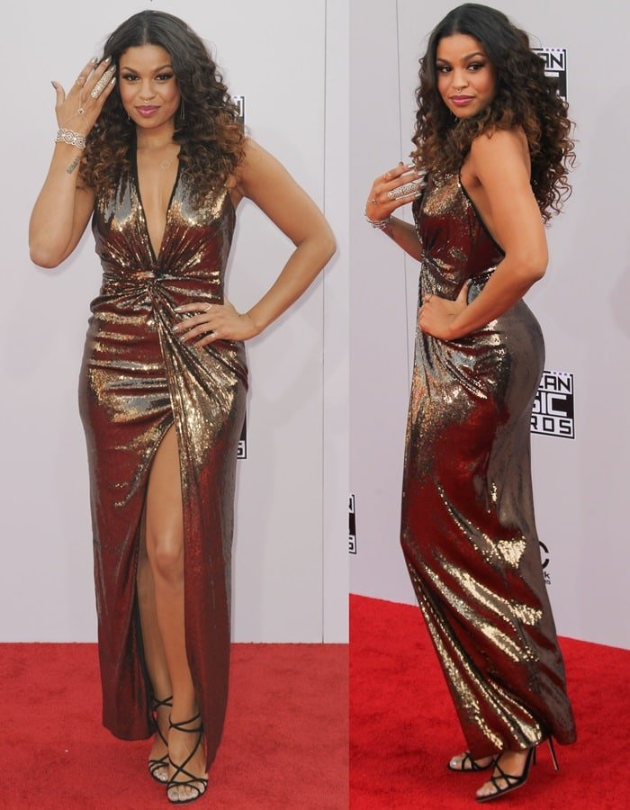 Jordin Sparks flaunts her toned legs ina thigh-high-slit gold sequined gown