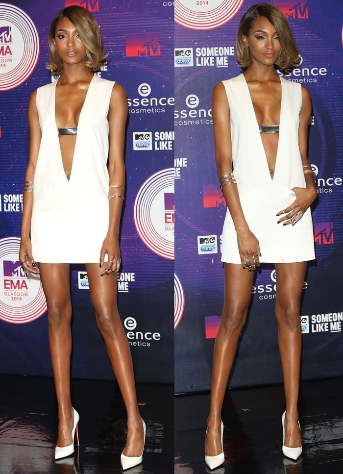 Jourdan Dunn in a white hot attire at the 2014 MTV Europe Music Awards held at The Hydro in Glasgow, Scotland, on November 9, 2014