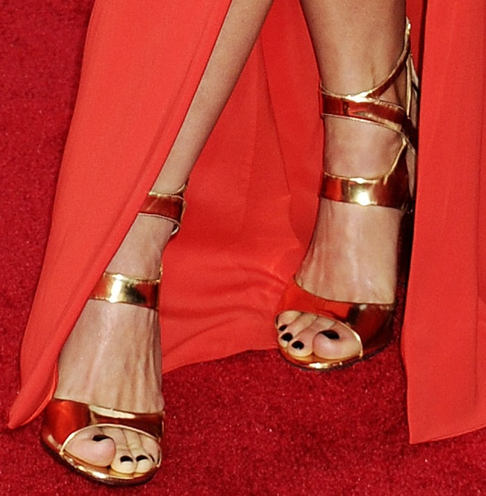 Julianne Hough shows off her perfect feet in Tamara Mellon Fatale sandals in mirrored gold leather