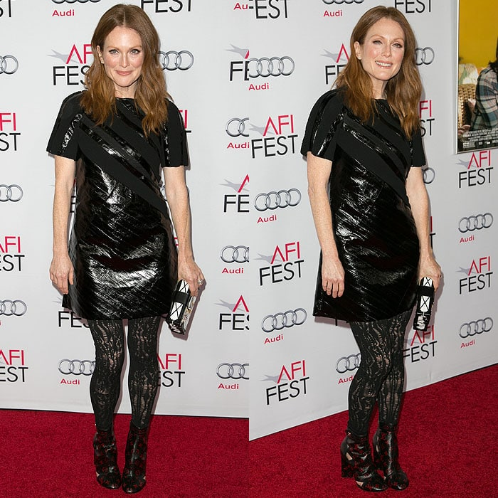 Julianne Moore modeling her head-to-toe Louis Vuitton look