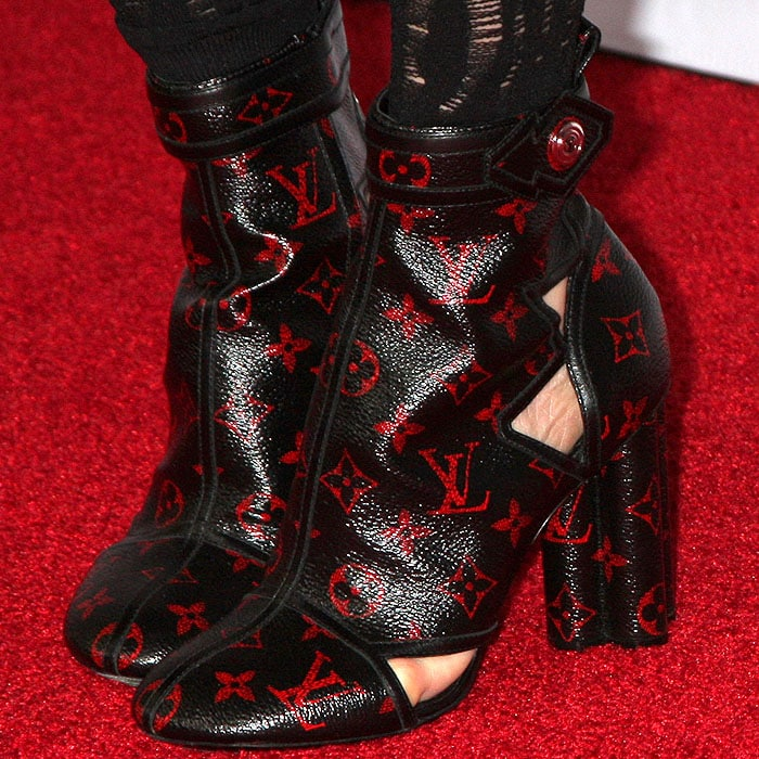Louis Vuitton Spring 2015 red monogrammed cutout boots on Julianne Moore