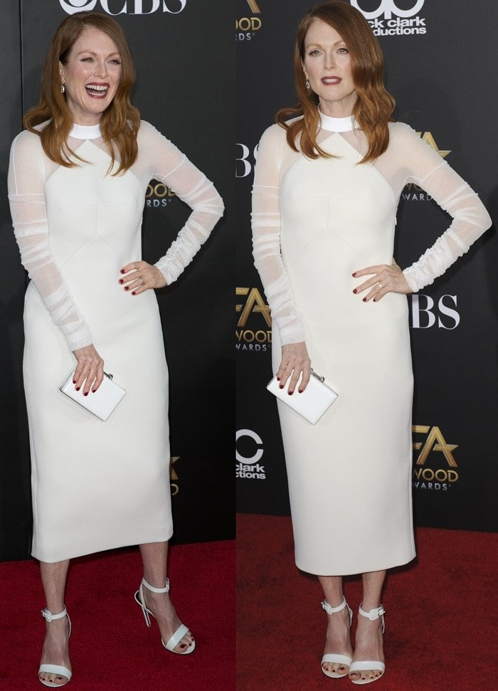Julianne Moore in a white sheer-panel dress from the Balenciaga Spring 2015 collection