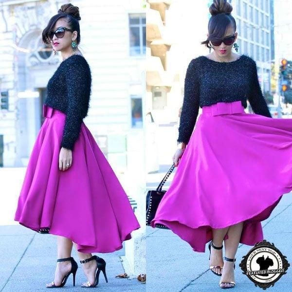 KTR's high-low hemmed full skirt in a bright color