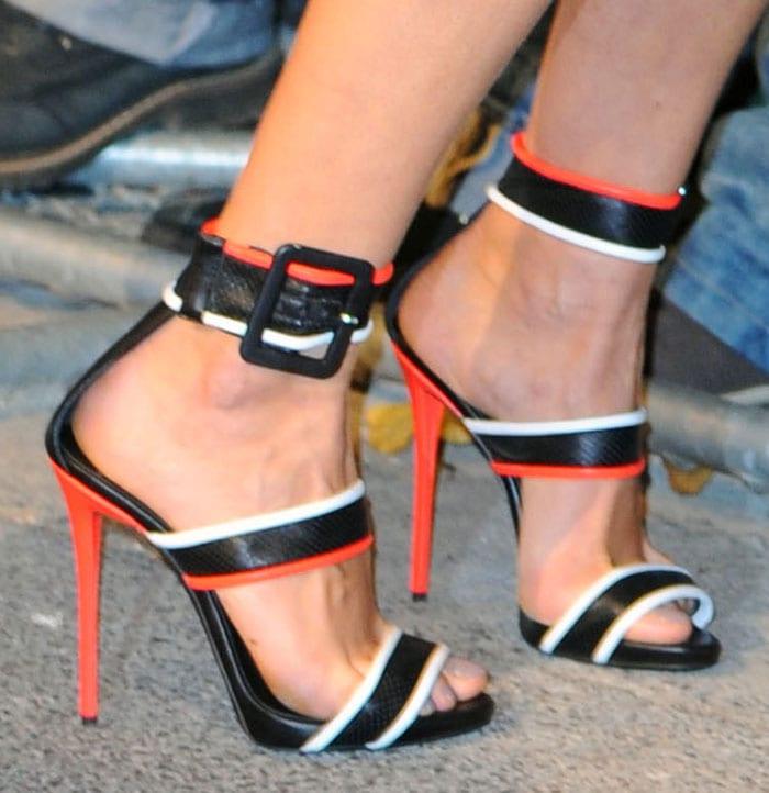 Karolina Kurkova wearing Giuseppe Zanotti sandals