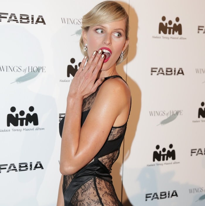 Karolina Kurkova at the Fashion for Kids charity fashion show in Prague, Czech Republic, on November 28, 2014
