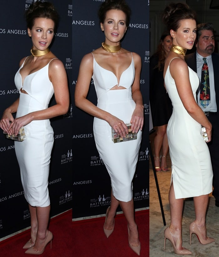 Kate Beckinsale donned a crepe plunge dress from the Zimmermann Spring/Summer 2014 collection