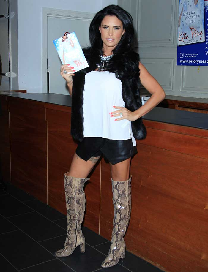 Katie Price covered up for the signing of her 10thnovel atWHSmith in Hastings