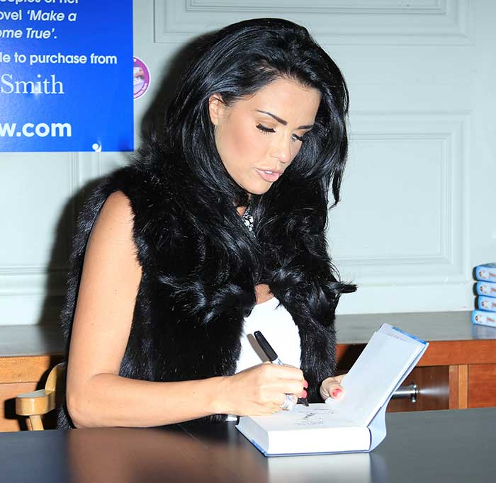 Katie Price at the Make My Wish Come True book signing at Priory Meadow in Hastings, England, on November 1, 2014