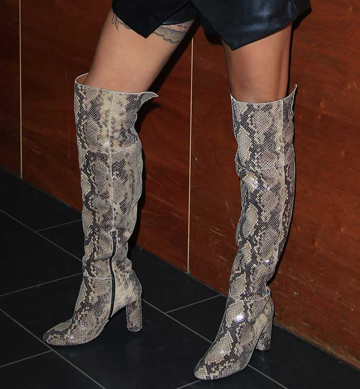 Katie Price let her over-the-knee snake boots do the talking