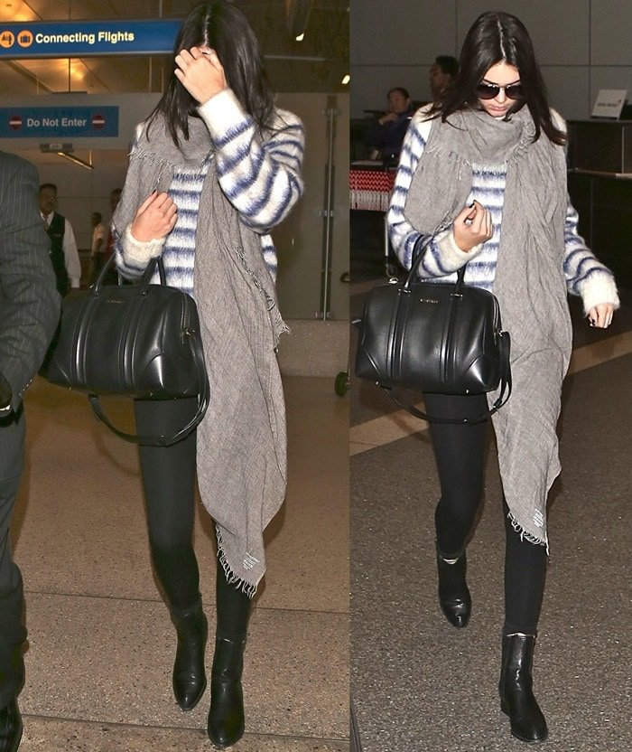 """Kendall Jenner styled the Alexander Wang boots with black leggings, a long-sleeved knit sweater in a soft mohair blend by H&M, a long gray scarf, and a supple nappa lambskin leather top-zip """"Lucrezia"""" duffel by Givenchy"""