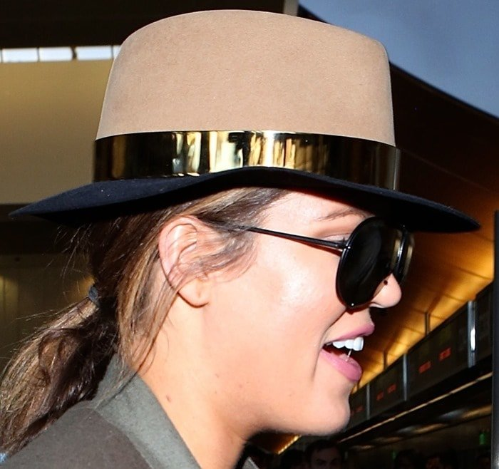 Khloe Kardashian rocking a hat by Maison Michel
