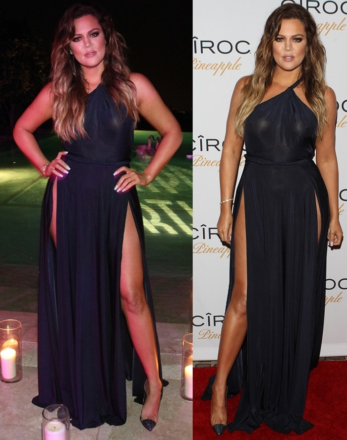 Braless Khloe Kardashian in a see-through dress by Abyss by Abby