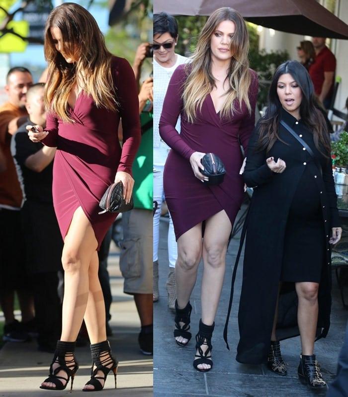 Khloe Kardashian wearing an ox blood 'Enaj Sensation' body-con dress by Just Enaj featuring a deep-V neckline and a front drape