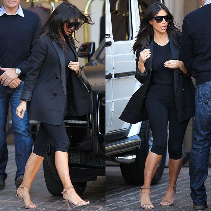 Kim Kardashian arriving for sister Kourtney's baby shower