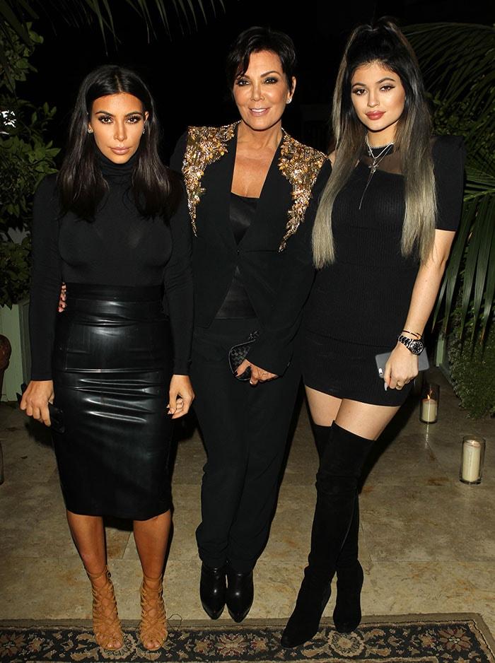 Kim Kardashian, Kris Jenner, and Kylie Jenner at French Montana's birthday celebration