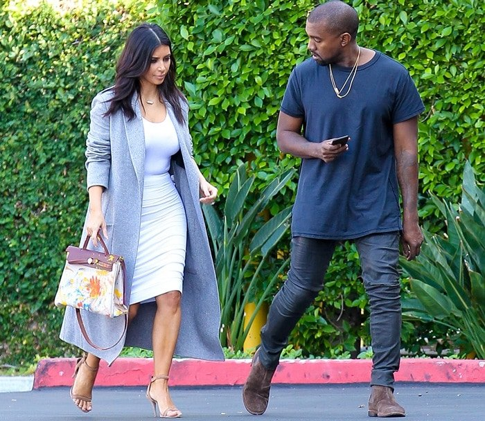 Kim Kardashian and Kanye West heading to the Kardashian's office in Los Angeles on November 10, 2014