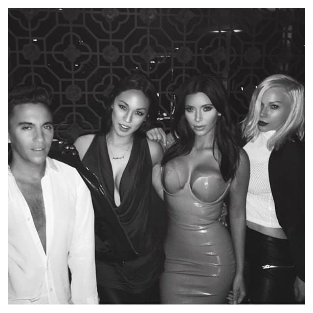 "Image shared by Kim Kardashian with the caption ""We're on a world tour #FleurFatale @thescottycunha @steph_shep @joycebonelli"""