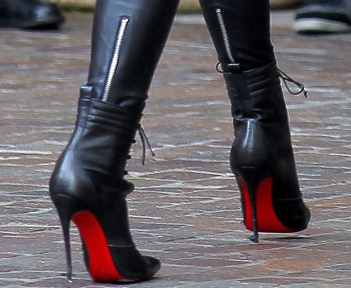 """Christian Louboutin """"Mado"""" lace-up boots on Kylie Jenner"""
