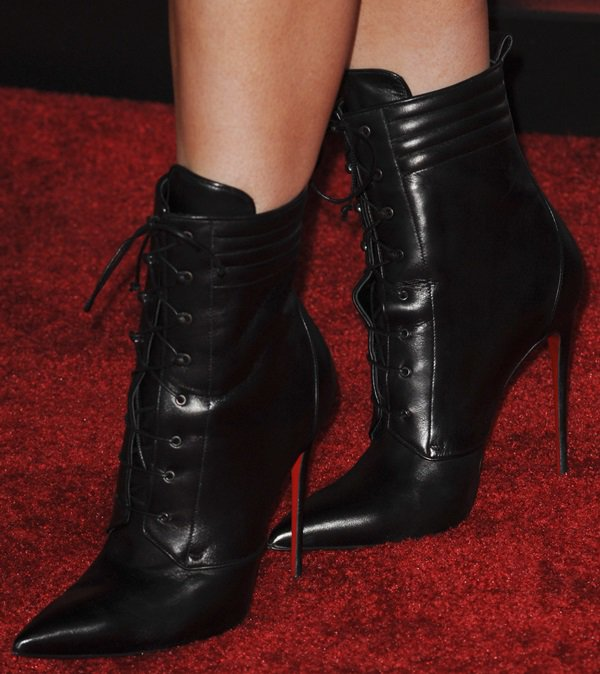 Kylie Jenner rockingChristian Louboutin's Mado leather lace-up ankle boots