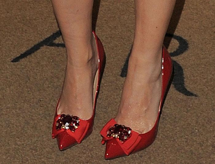 Kylie Minogue's feet in red Dolce & Gabbana pumps