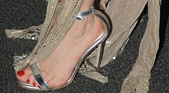 Lady Gaga tortures her feet in metallic ankle-strap sandals