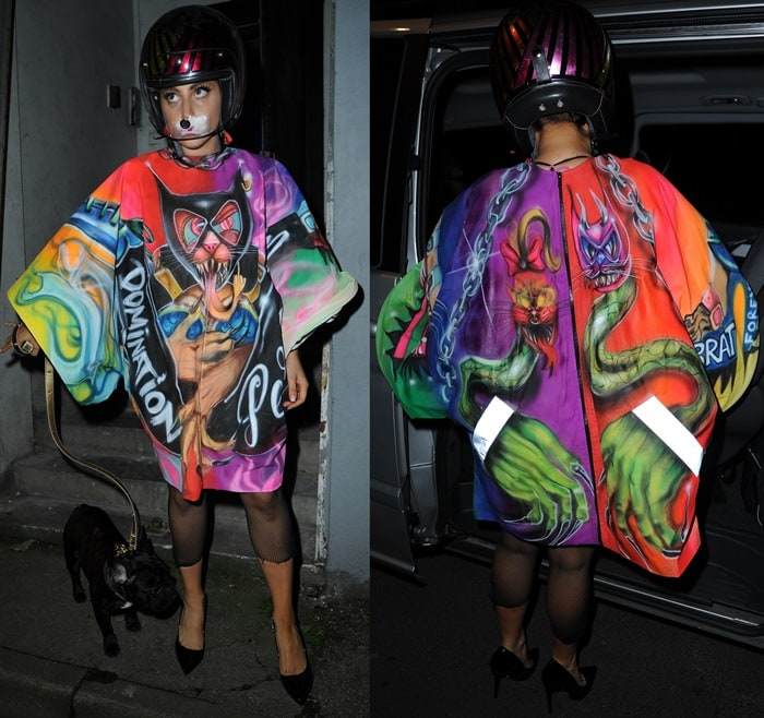 Lady Gaga ina graffiti-print silk dress emblazoned with animals and other images