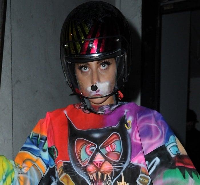 Lady Gaga leaving a dance studio in Manchester wearing a motorbike helmet