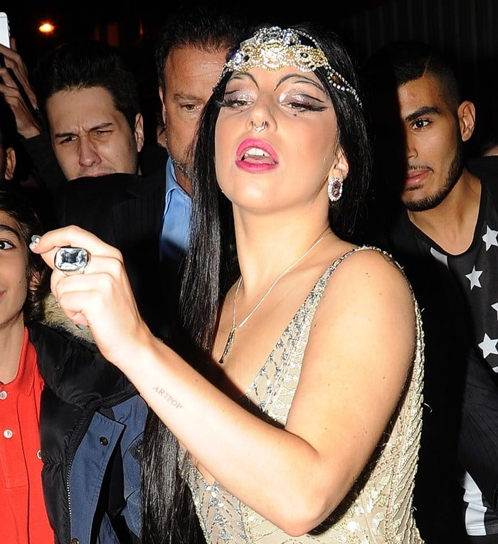 Lady Gaga returning to her hotel after her concert in Paris, France, on October 30, 2014