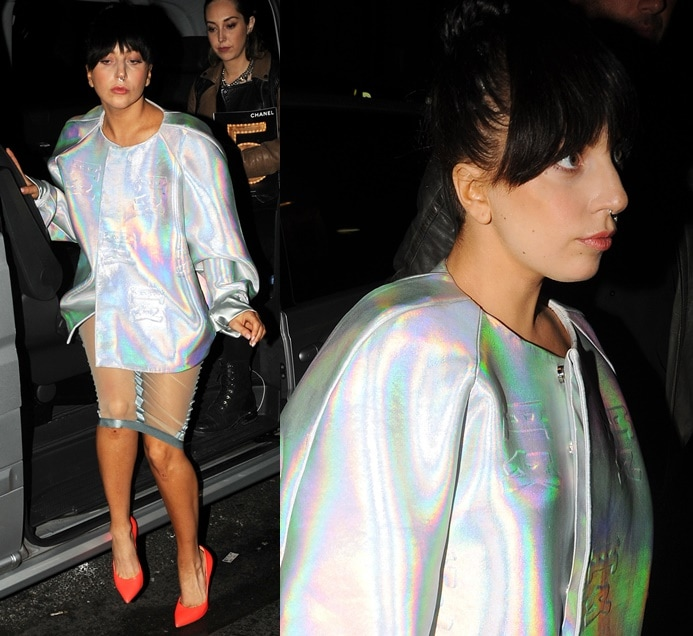 Lady Gaga used the same shoes with a voluminous metallic jacket paired with a sheer skirt