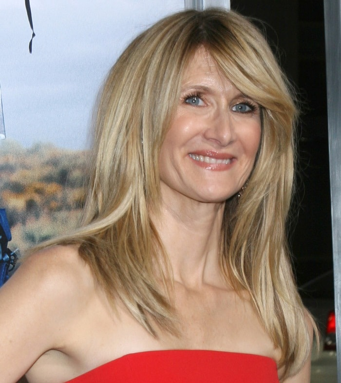 Laura Dern in a red strapless dress from the SAFiYAA Spring 2014 collection