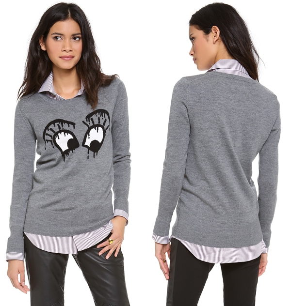 Markus Lupfer Ink Drop Intarsia Eyes Sweater