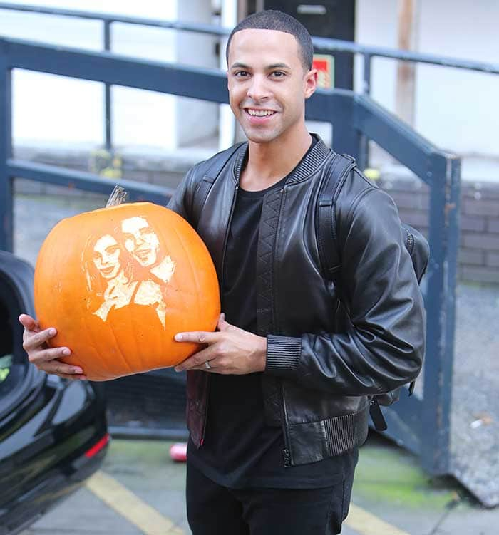 Marvin-Humes-carrying-carved-pumpkin-ITV-studios