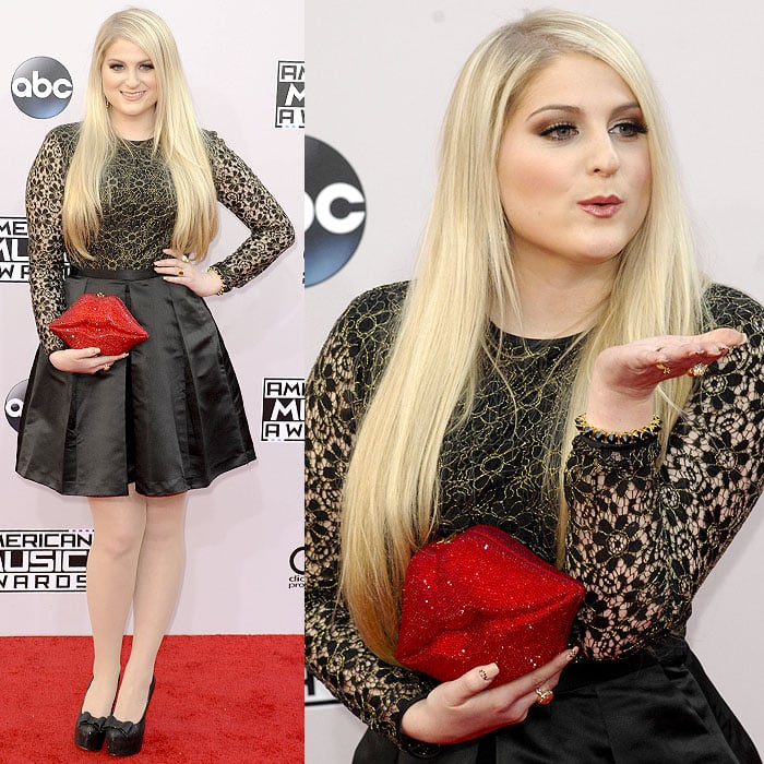 Meghan Trainor blows kisses at the 2014 American Music Awards