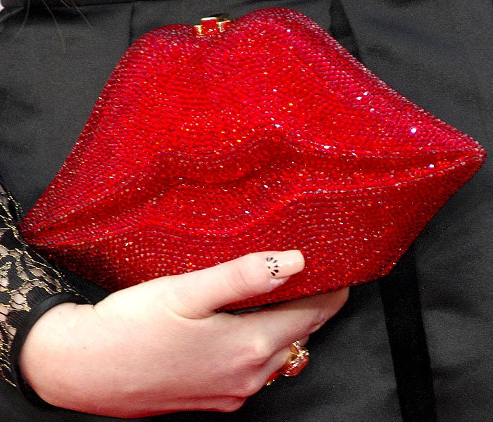 Meghan Trainor red lips clutch