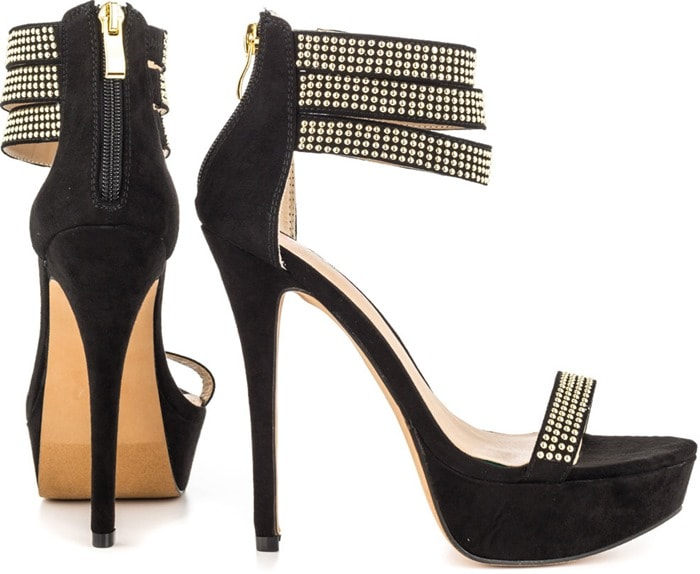 Mena Covered Sandals with Microstud Detailing in Black