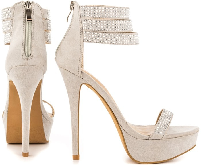 Mena Covered Sandals with Microstud Detailing in Grey