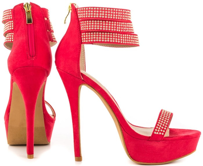 Mena Covered Sandals with Microstud Detailing in Red