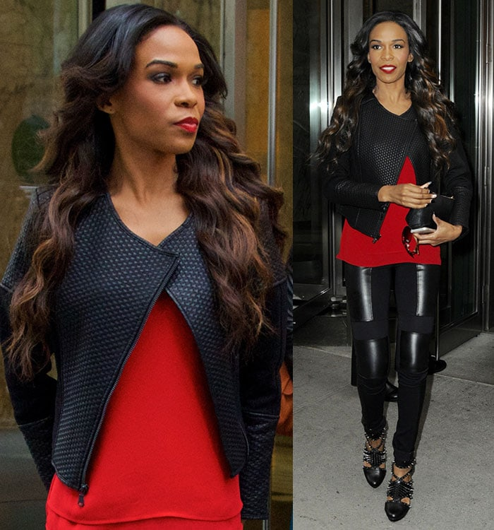Michelle Williams promoting Fix My Choir in a leather jacket over a red top