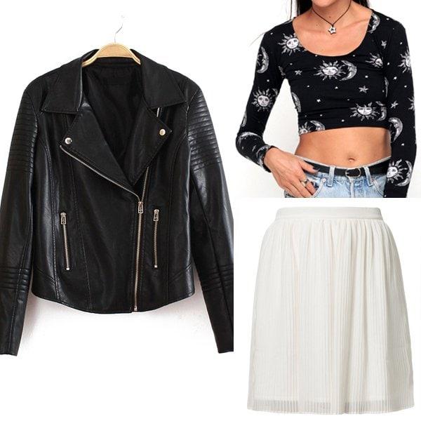 Black Lapel Long Sleeve Zipper Leather Jacket / Motel Mary Long Sleeve Crop in Sun Moon Stars Print / Zalando Pleated Skirt in White