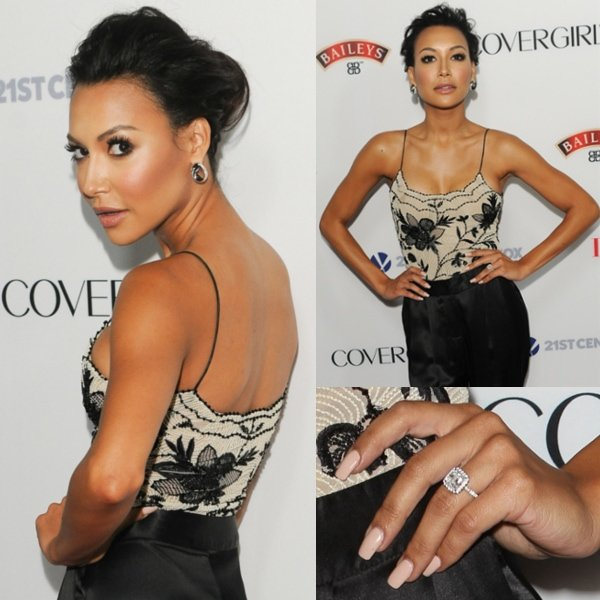 Naya Rivera shows off her3.5-carat solitaire diamond engagement ring