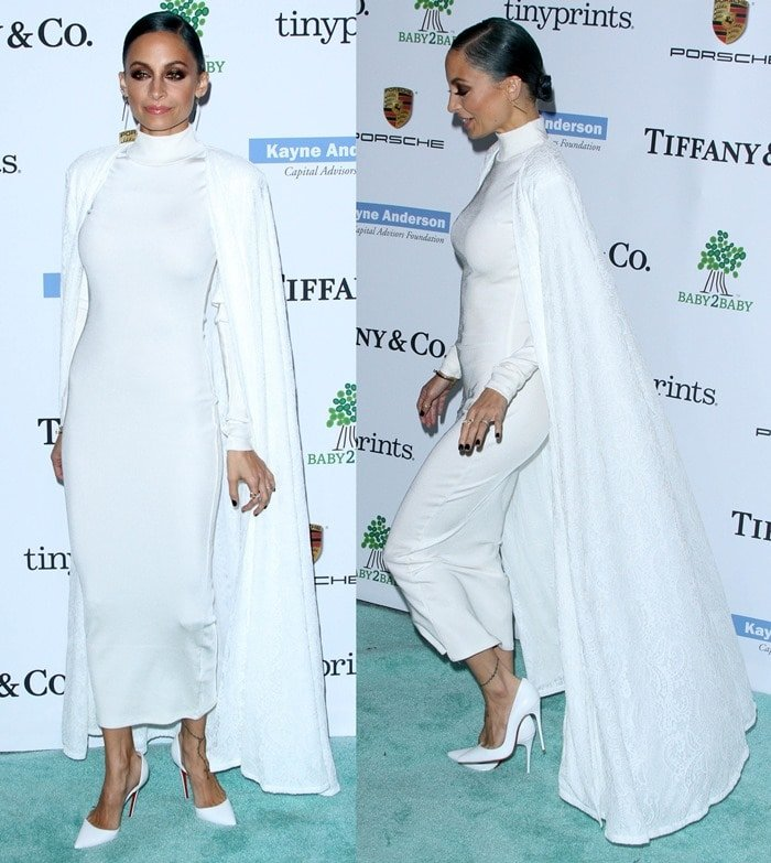 Nicole Richie wore her pumps with a high-neck body-con dress by H&M styled with a floor-length white corded-lace cape from Tadashi Shoji