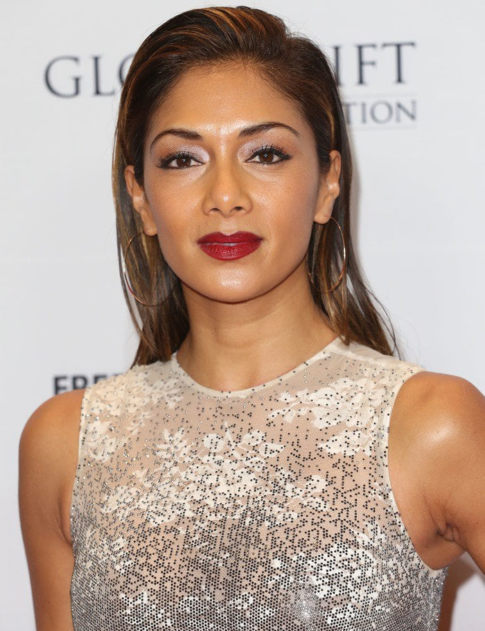 Nicole Scherzinger donned a white-and-gray floral-print dress from Ermanno Scervino