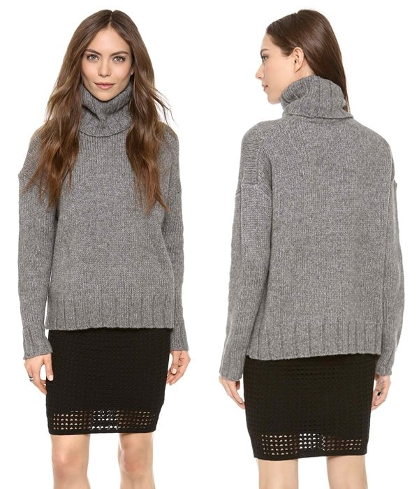 A turtleneck sweater in an oversized cut makes a plush layer for chilly temperatures.