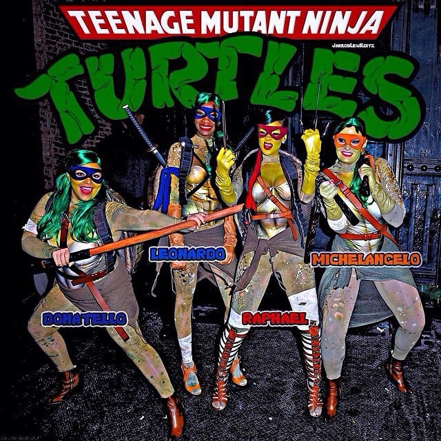 Rihanna and her posse in their Ninja Turtles costumes for Halloween - posted on November 3, 2014