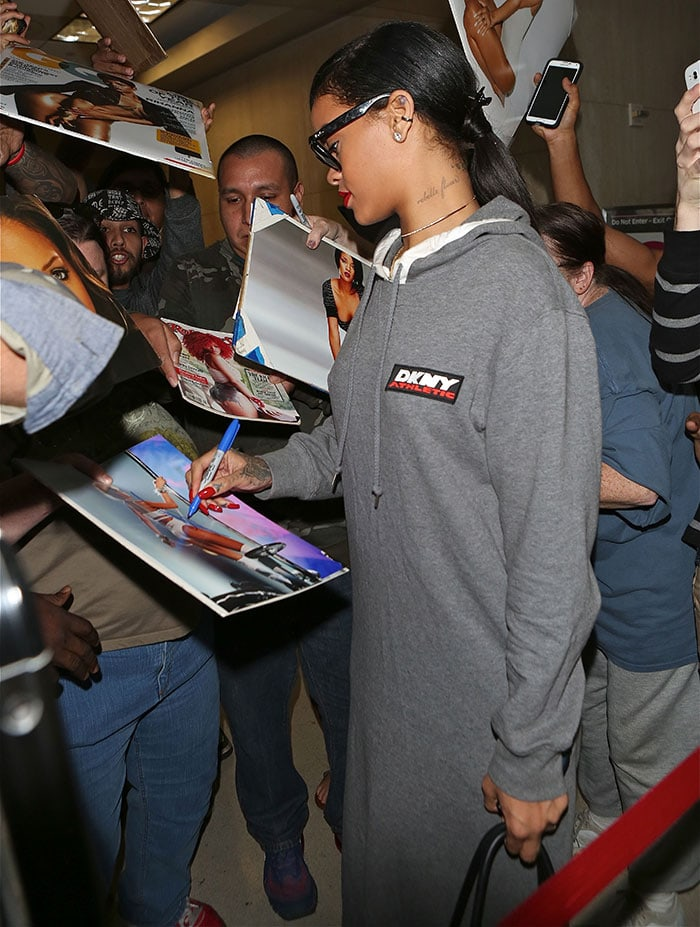 Rihanna wearing Ray-Ban sunglasses