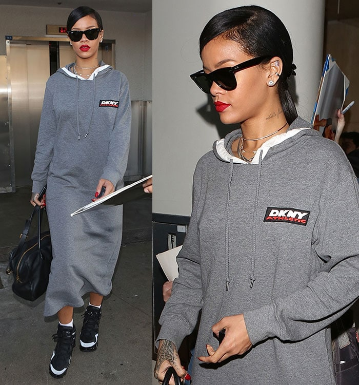 Rihanna in a shapeless ankle-length hoodie dress by DKNY